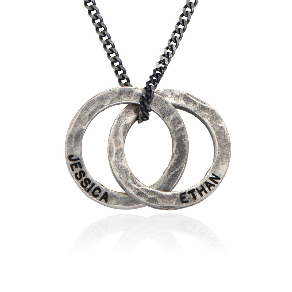 Russischer Ring Halskette für Männer aus mattem Sterling Silber