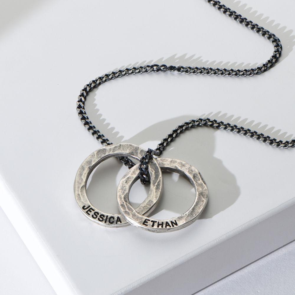 Russischer Ring Halskette für Männer aus mattem Sterling Silber  - 1
