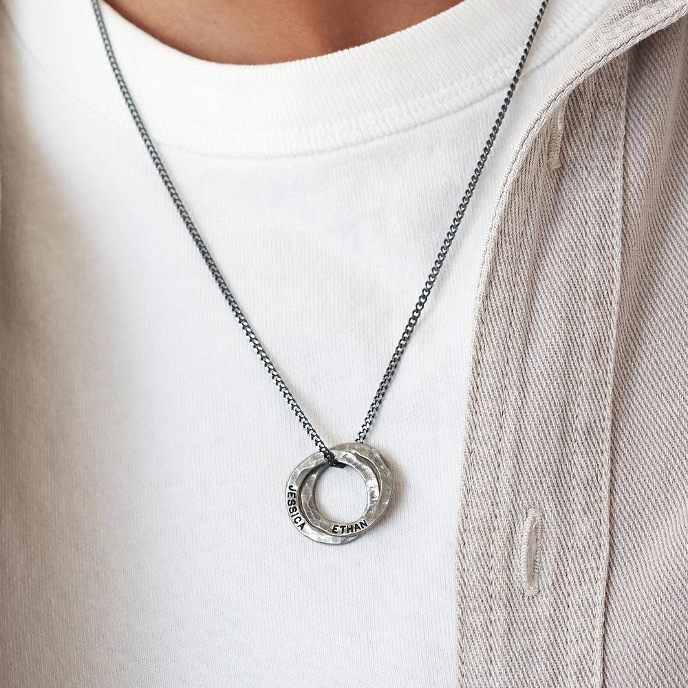 Russischer Ring Halskette für Männer aus mattem Sterling Silber  - 2