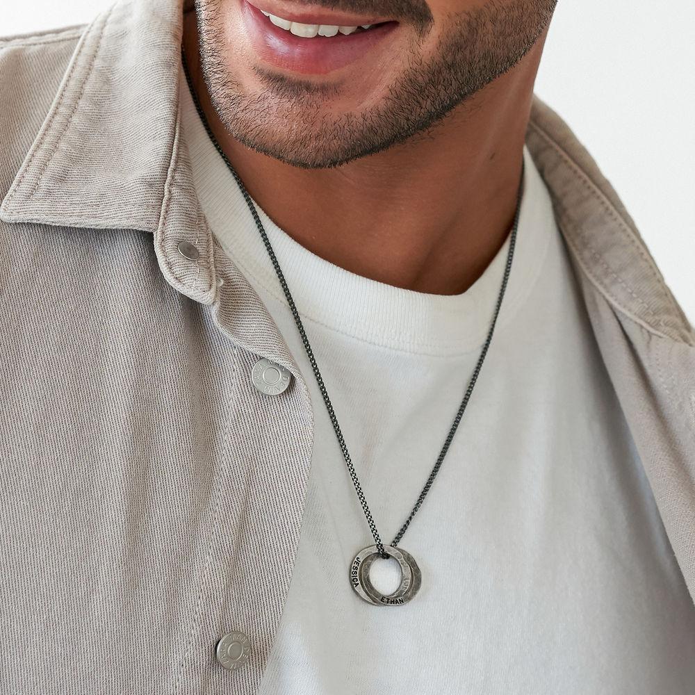 Russischer Ring Halskette für Männer aus mattem Sterling Silber  - 3