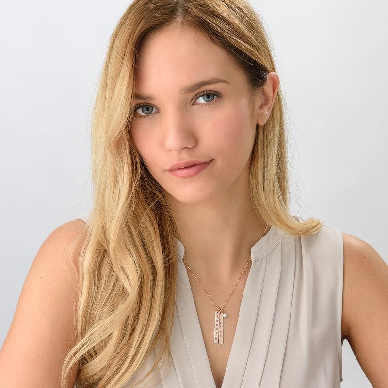 750er Rosé vergoldete Silber Halskette mit graviertem Namensanhänger - 2