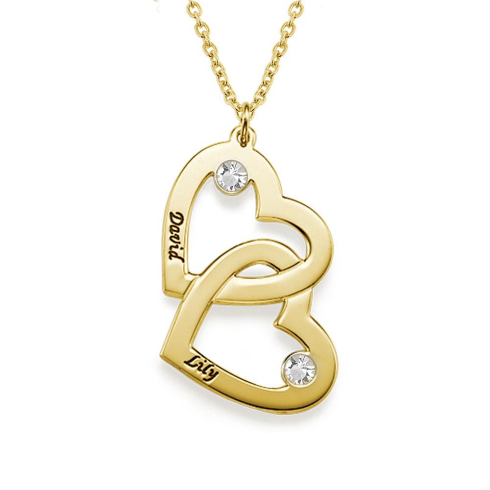 Romantische Herz-an-Herz Halskette mit Geburtssteinen aus 18k vergoldetem Silber - 1