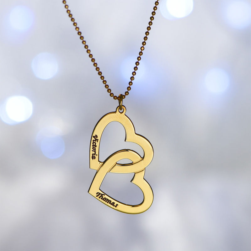 18k Vergoldete Herzen in einer Herzkette - 4