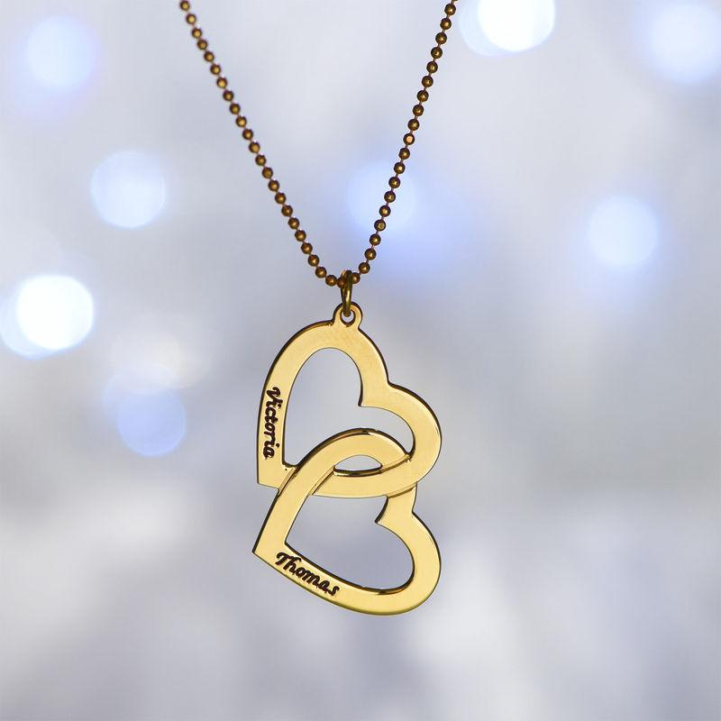 Herzen in einer Herzkette mit Gold-Vermeil - 1
