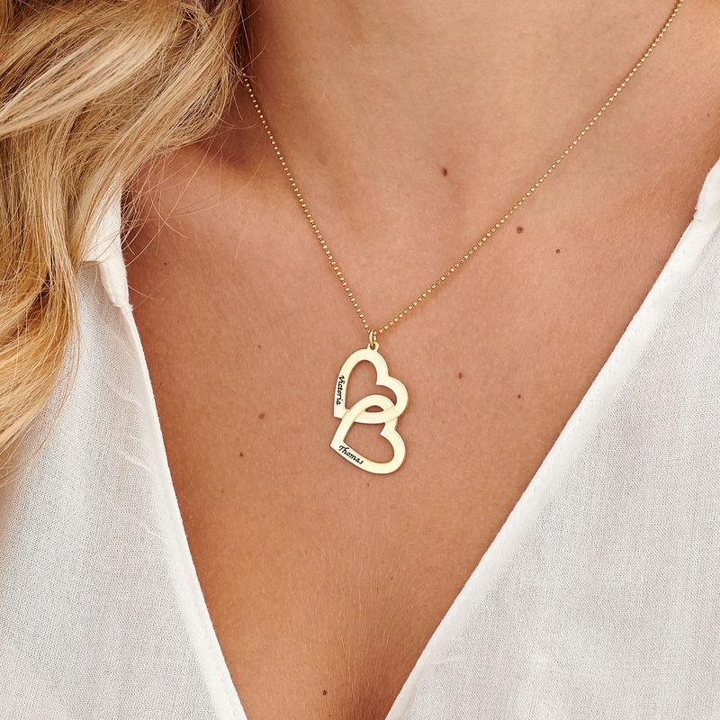 Herzen in einer Herzkette mit Gold-Vermeil - 3