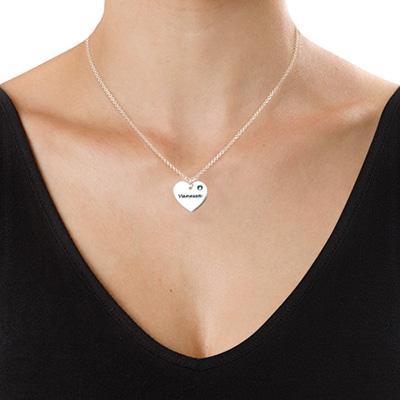 Personalisierte Herzkette mit Gravur und Kristall - 1