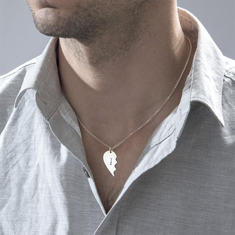 Individualisierte Silber Namenskette mit zwei zerbrochenen Herz Hälften - 3