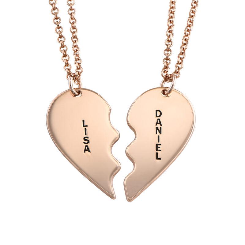 Gebrochene Herzkette für Pärchen in Silber mit Rosevergoldung