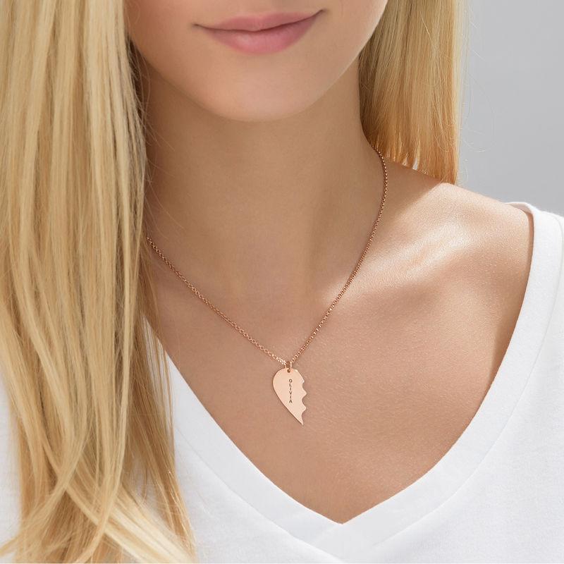 Gebrochene Herzkette für Pärchen in Silber mit Rosevergoldung - 1