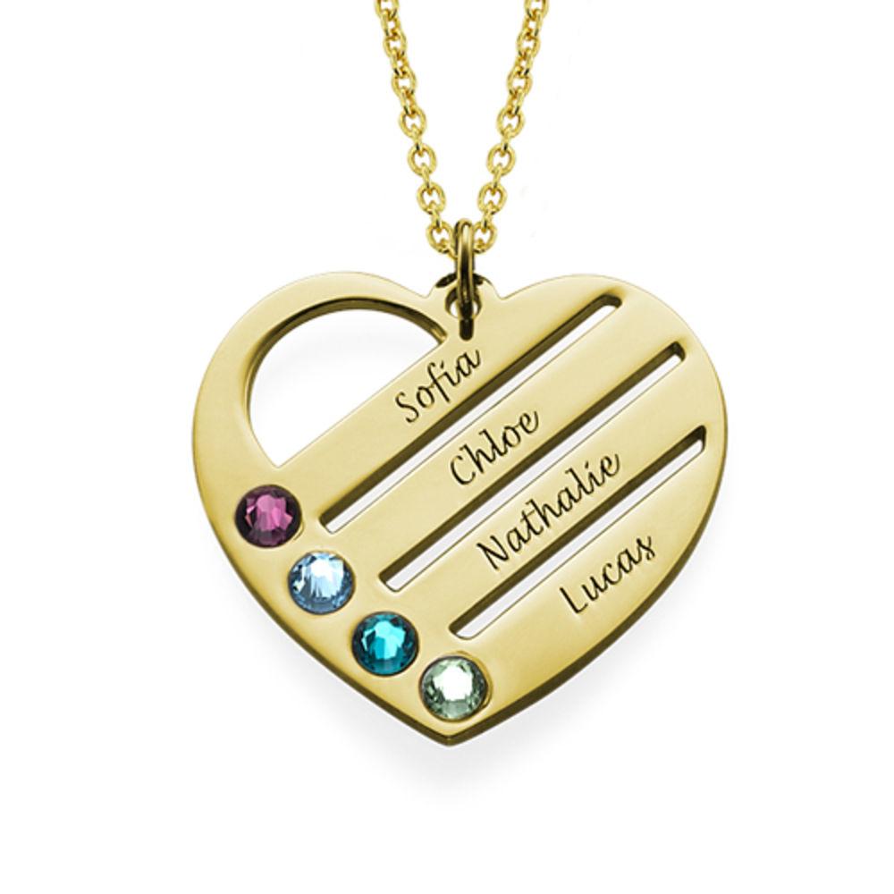 Gold Vermeil Herzkette mit Geburtssteinen