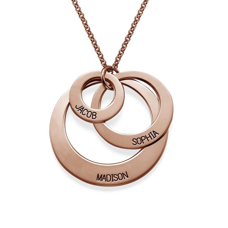 Schmuck für Mütter – rosévergoldete Halskette mit drei flachen Ringen - 1