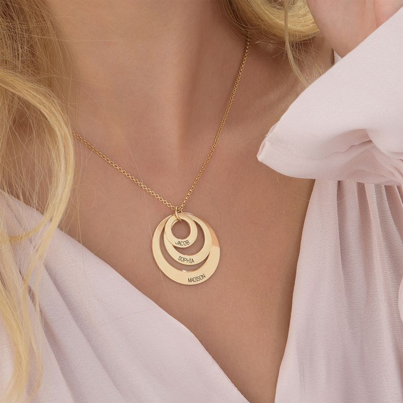 Mutterschmuck – Halskette mit drei Ringen in Gold-Vermeil - 5