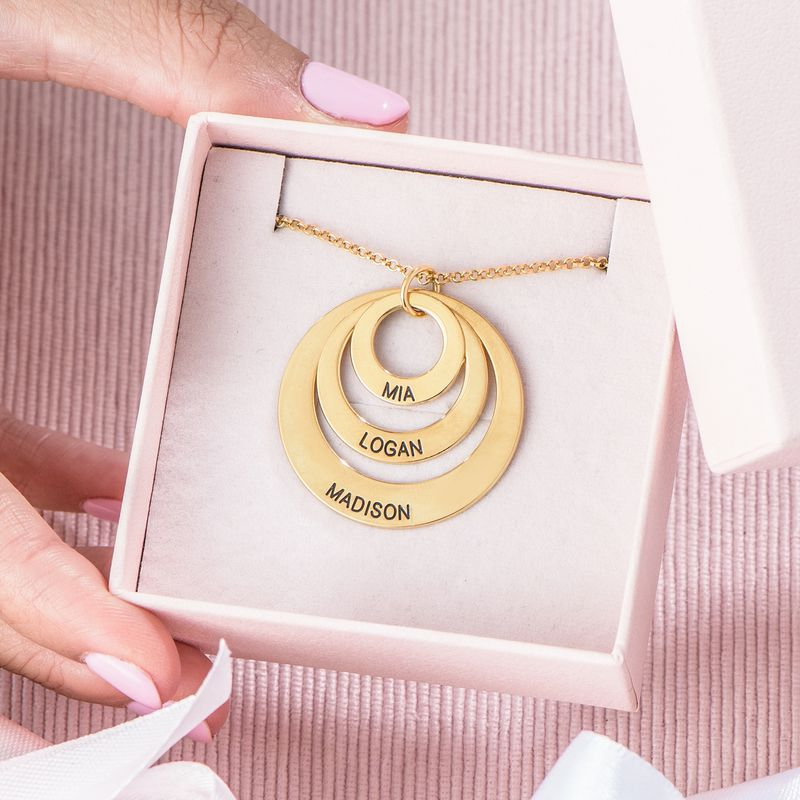 Mutterschmuck – Halskette mit drei Ringen in Gold-Vermeil - 6