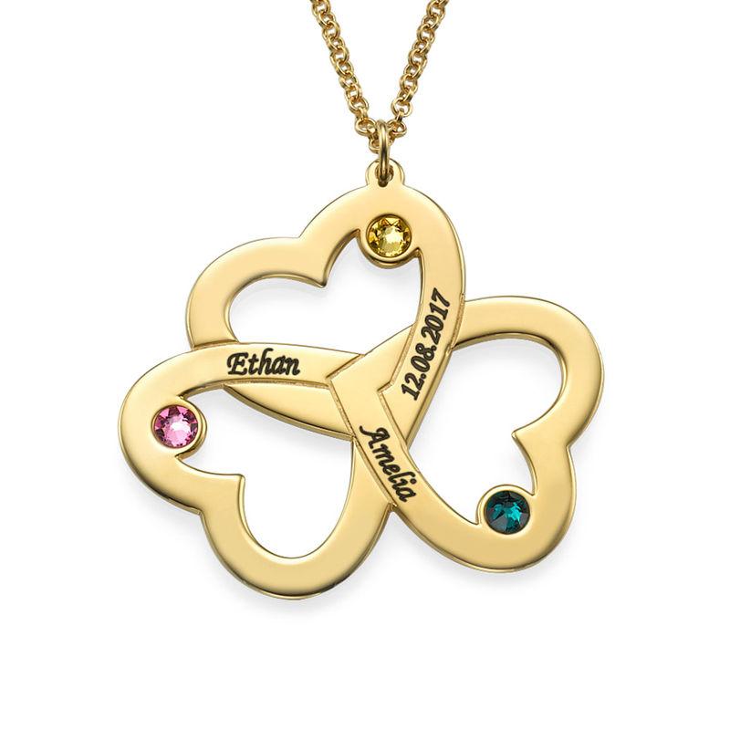 Personalisierte vergoldete Dreifachherzkette mit Gravur - 1