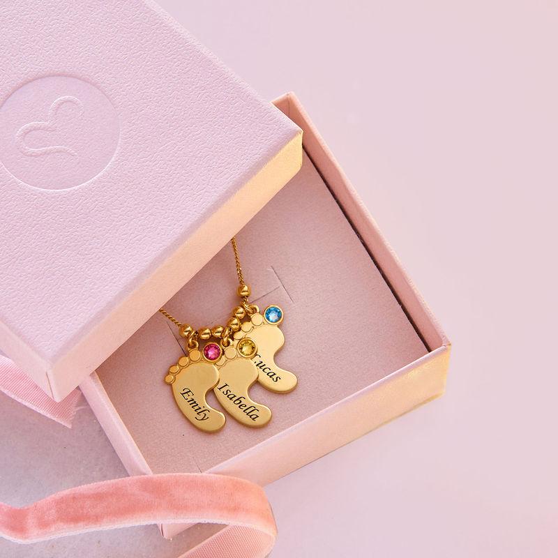 Mutterschmuck - Vergoldete Babyfuß Halskette mit Gravur - 6