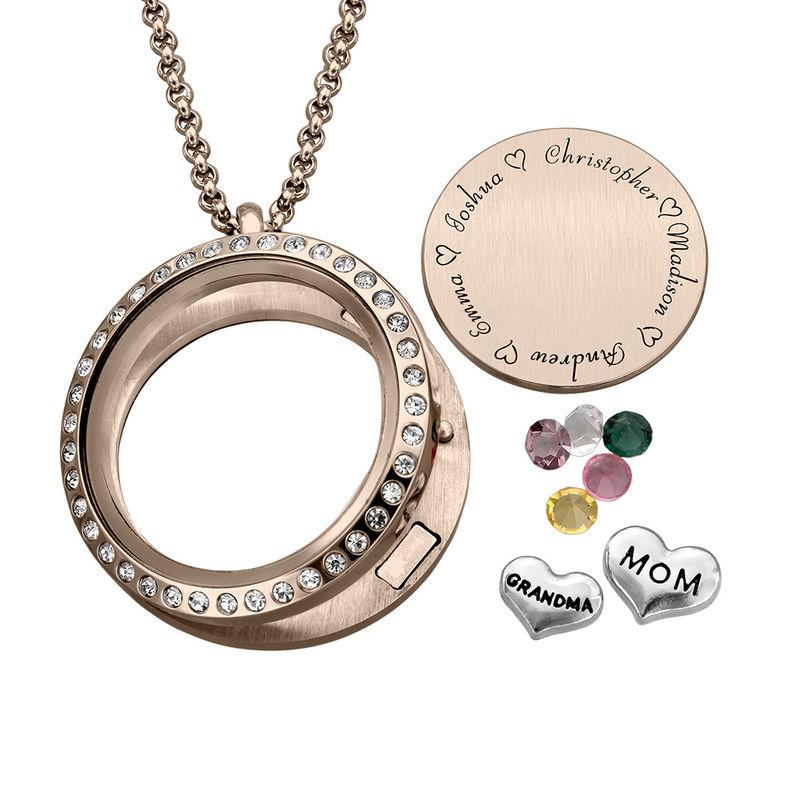 """Charm-Medaillon mit Gravur und Rosévergoldung - """"für Mutter oder Großmutter"""" - 1"""