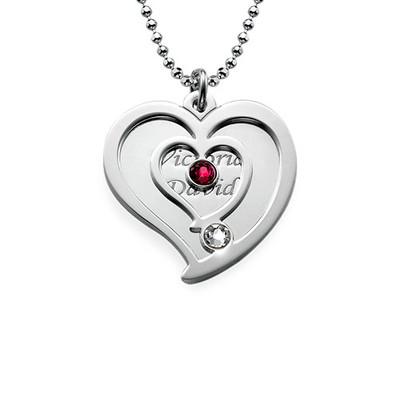 Personalisierte Geburtsstein-Herzkette für Pärchen aus Silber - 1