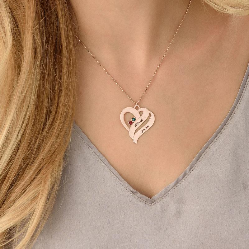 Rosévergoldete Geburtssteinkette mit zwei Herzen für Mütter - 3