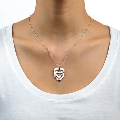 Gravierte vertikale Geburtssteinkette mit Herz in Herz-Anhänger - 1