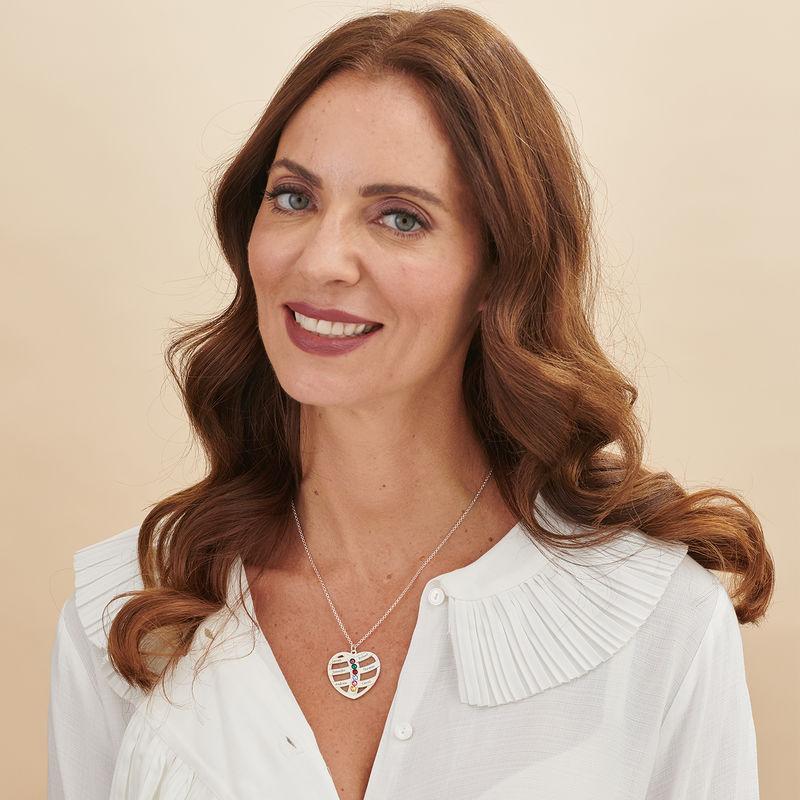 Gravierbaren Herzkette für Mutter mit Geburtssteinen - 2