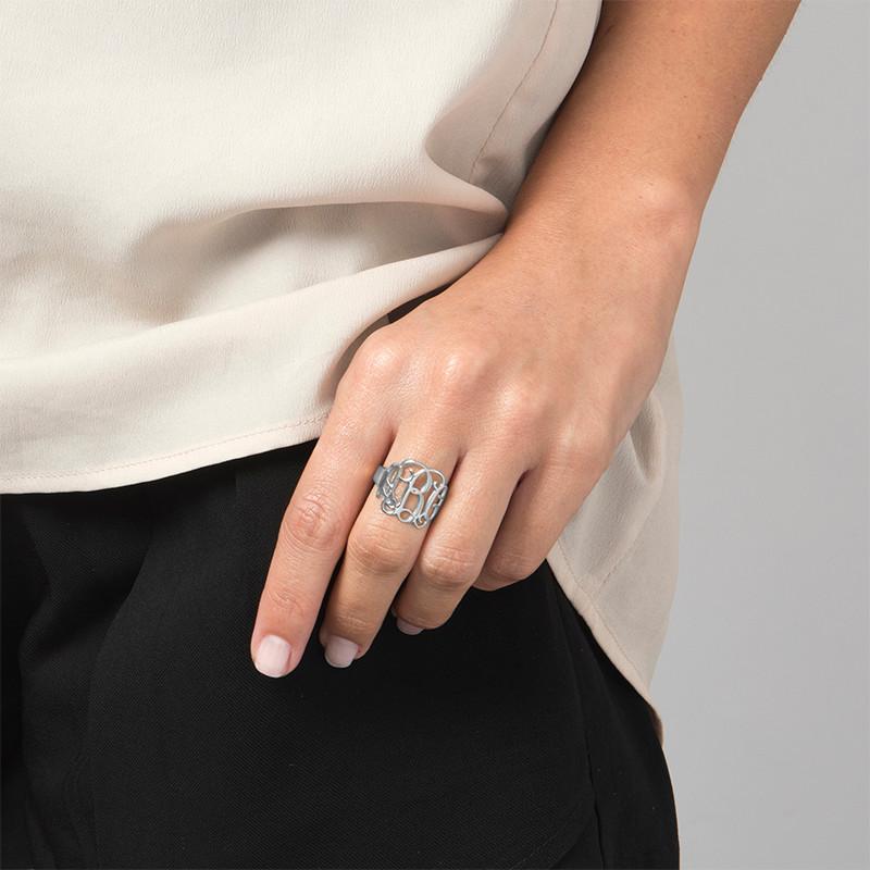 Sterling Silber Monogramm Ring - 1