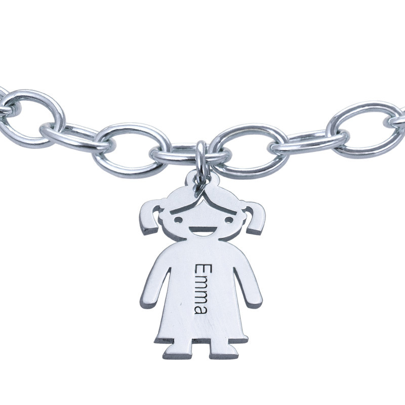 Graviertes Armband mit Kinder Charms in 925er Silber - 1