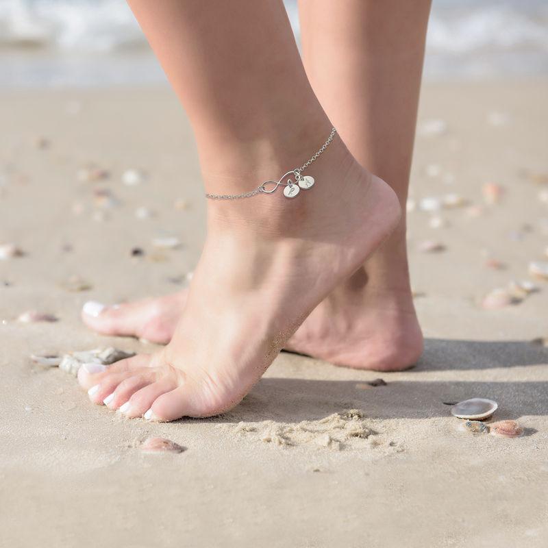Infinity-Armband / Fußkette mit Initialen-Charms - 3
