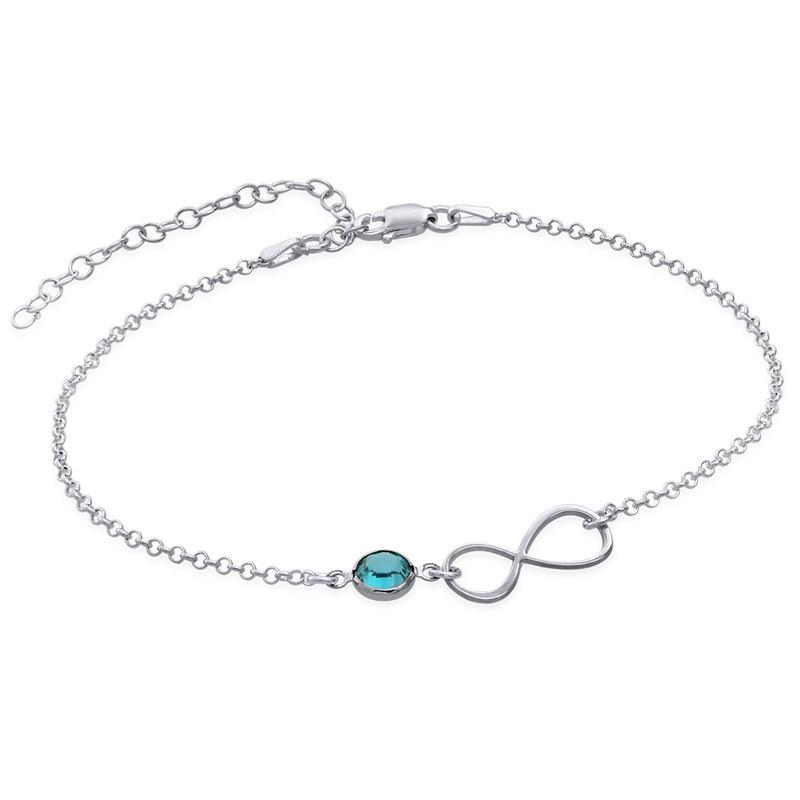 Infinity Fußkette aus Silber mit Geburtsstein