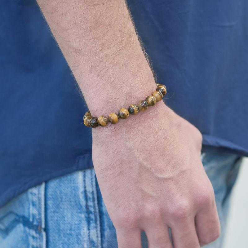 Perlen-Tigerauge-Armband für Herren - 1
