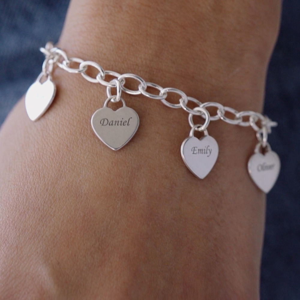 Gravierbares 925er Silber Armband mit Herz Charms - 3