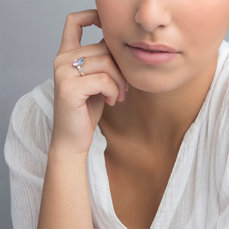 Personalisierbarer Geburtsstein-Ring aus Silber - 2