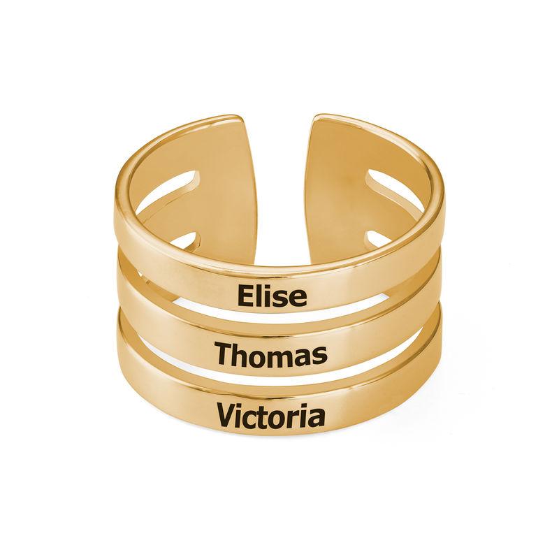 Namensring mit drei Namen in Gold-Vermeil - 1