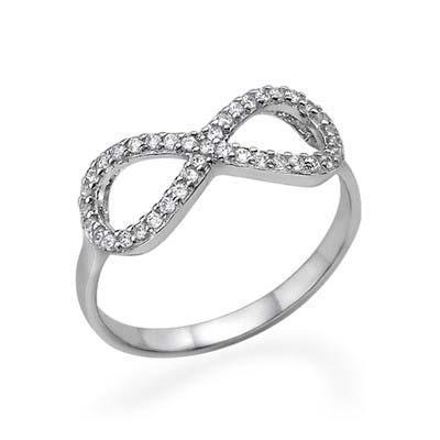 925er Silber Infinity-Unendlich Ring mit Zirkonia Edelsteinen