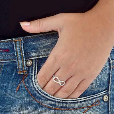 925er Silber Infinity-Unendlich Ring mit Zirkonia Edelsteinen - 2