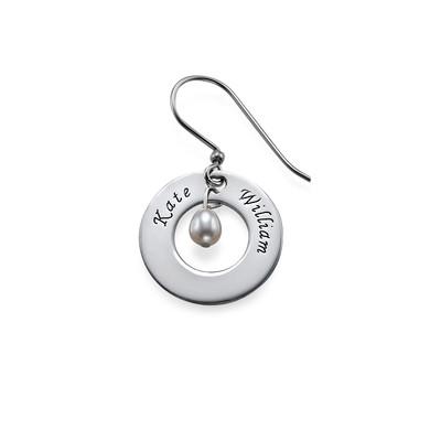 925er Silber Gravierte Ohrringe mit Geburtsperle - 1