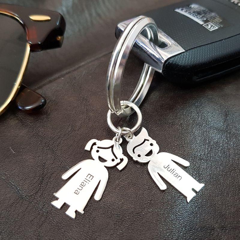 Schlüsselanhänger mit Kinder-Charms und Gravur - 4