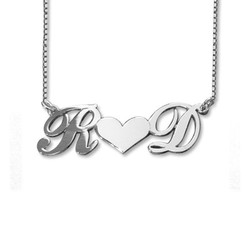 Individualisierbare925 Silber Pärchenkette mit Initialen und Herz Produktfoto