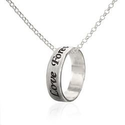 925er Silber gravierbarer Ring mit Kette Produktfoto