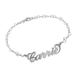 925 Silber Namensarmband/Fußband im Carrie Style mit Herz Kette Produktfoto