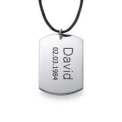 Sterling Silber Dog Tag Halskette Produktfoto