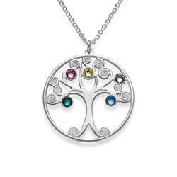 Baum des Lebens Halskette aus Silber mit Geburtssteinen Produktfoto