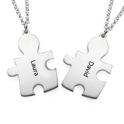 Individualisierte 925er Silber Freundschaft Namenskette im Puzzle Produktfoto