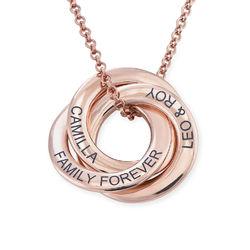 Halskette mit russischen Ringen aus Silber mit Roségold-Beschichtung Produktfoto