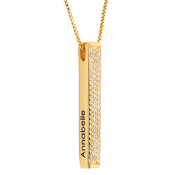 Vergoldete Vertikale 3D-Bar-Kette mit Gravur und Zirkonia product photo
