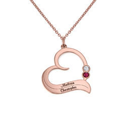Rose vergoldete Geburtsstein-Herzkette mit gravierten Namen Produktfoto