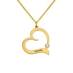 Gold Vermeil Geburtsstein-Herzkette mit gravierten Namen Produktfoto