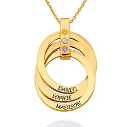 Halskette mit gravierten russischen Ringen aus Gold-Vermeil mit Produktfoto