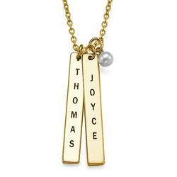 750er vergoldete Silber Halskette mit graviertem Namensanhänger Produktfoto