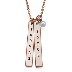 750er Rosé vergoldete Silber Halskette mit graviertem Namensanhänger Produktfoto