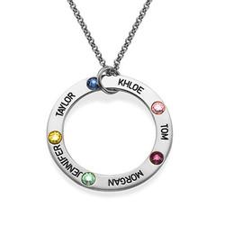 Gravierte Geburtsstein Halskette für Mütter Produktfoto
